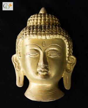 Brass Buddha Head Wall Hanging 5.5 inch