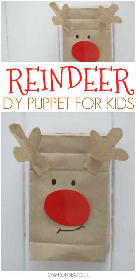 paper bag reindeer puppet for kids to make