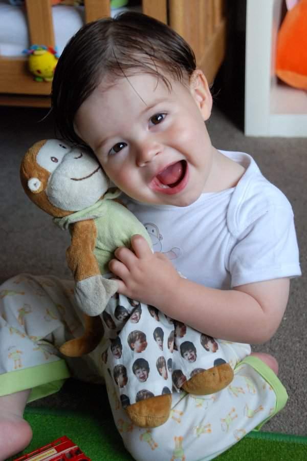 Rowan and Monkey cuddle