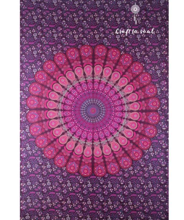 Barmeri Peacock Mandala Tapestry - Plum