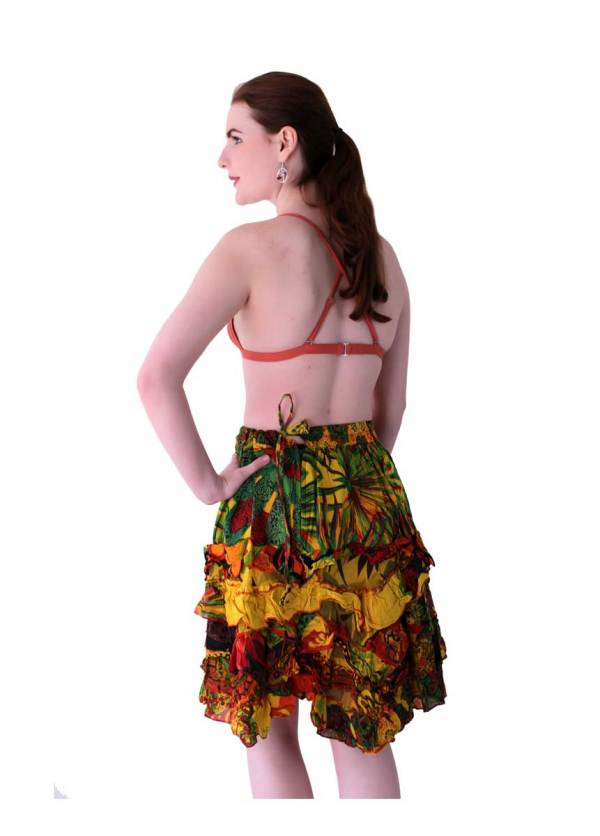 Bohemian-Mini-Skirt-Orange