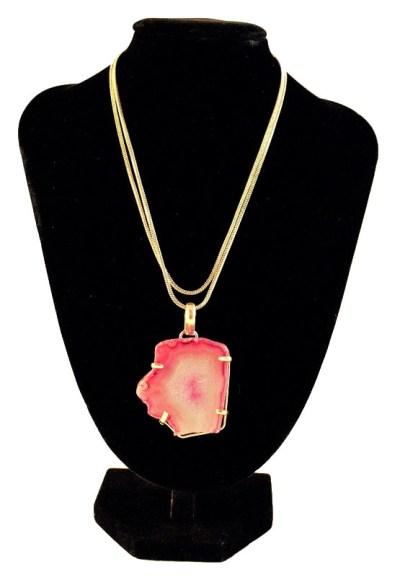 Pink Raw Geode Pendant