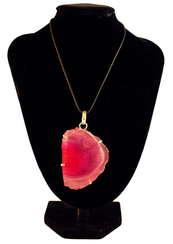 Pink Raw Geode Pendant