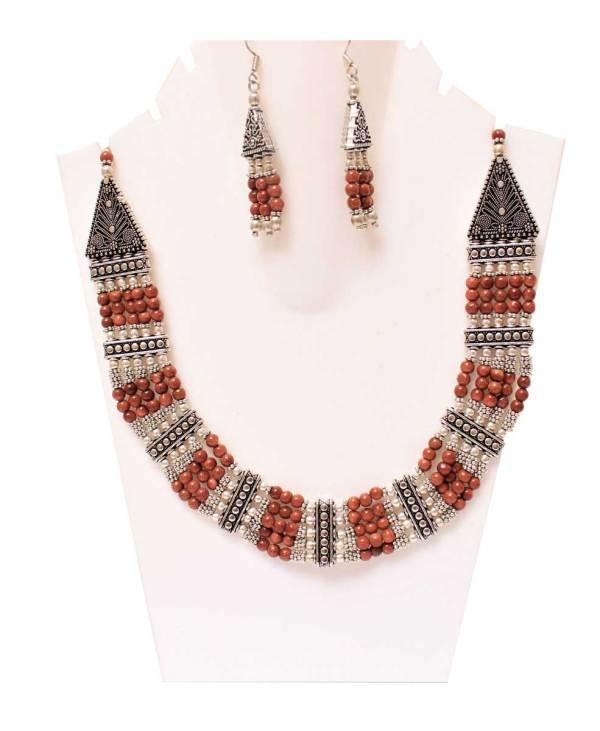 Sunstone Beads Statement Necklace