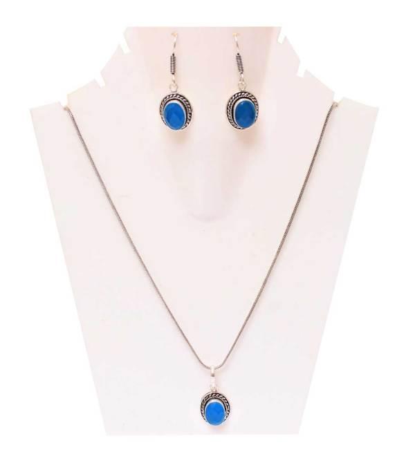 Blue Opal Stone Necklace