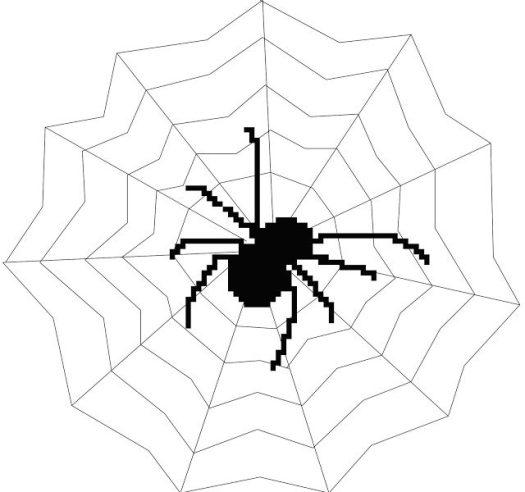 Free cross stitch Halloween Spider web PDF pattern
