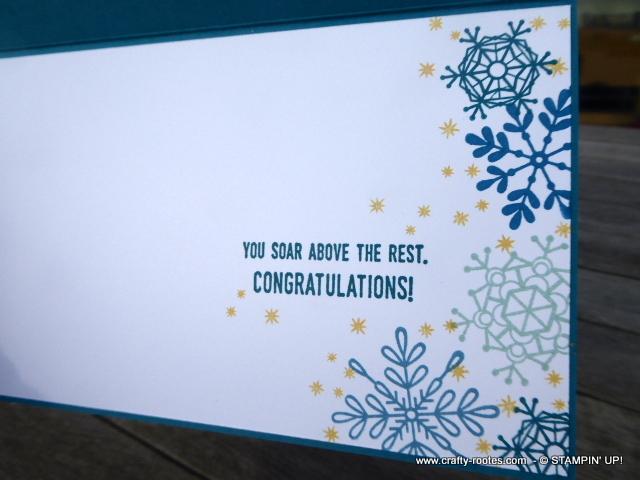 Pretty snowflake decoration inside a card