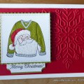 Festive jolly Santa jumper card