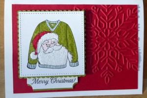 Festive jolly Santa jumper card