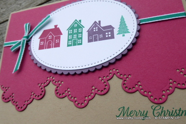 Christmas card made using Hearts come Home stamp set