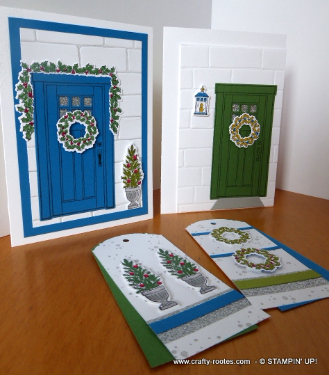 Doors decorated for Christmas