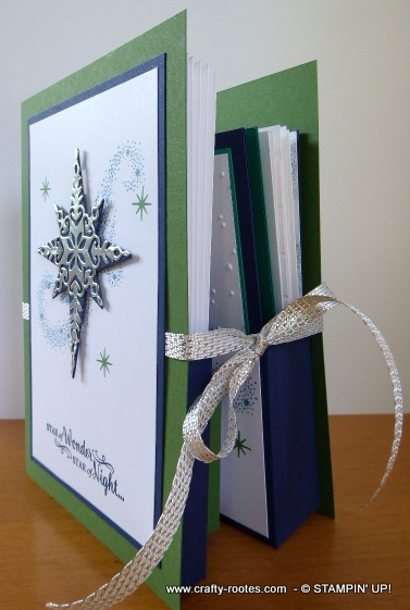 Star of Light decorating the inside of a book fold box
