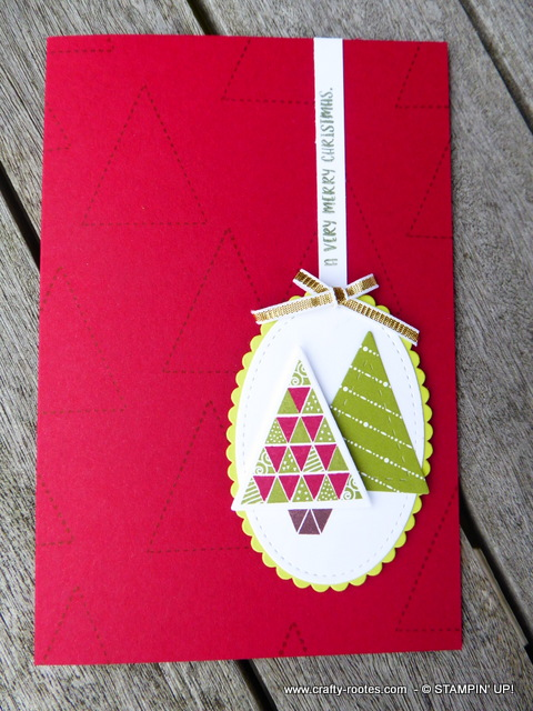 Card with quilted effect Christmas trees