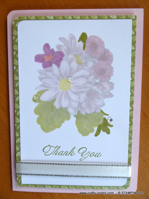 Soft pastel shades for a thank you card