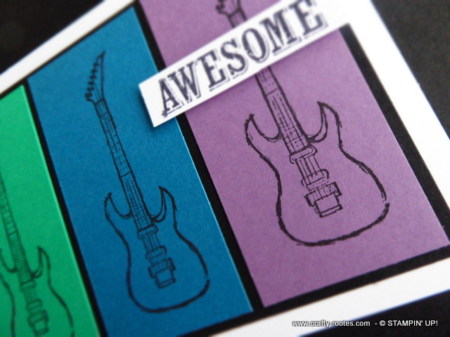 Quirky card featuring guitars