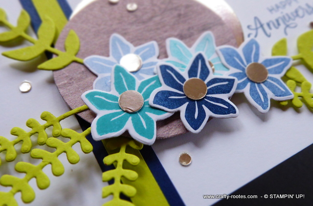 Anniversary card with blue flowers