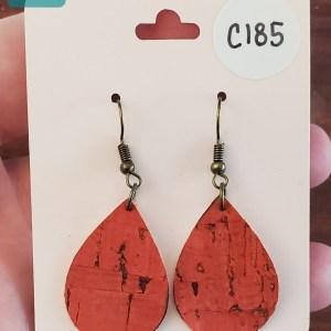 red cork earrings