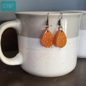 Glitter Gold Resin Earrings