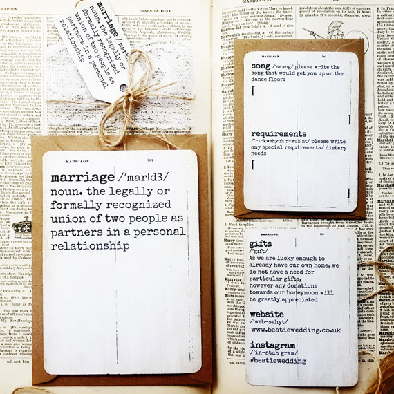 Dictionary Page Rustic Wedding Invitation Crafty Bacon