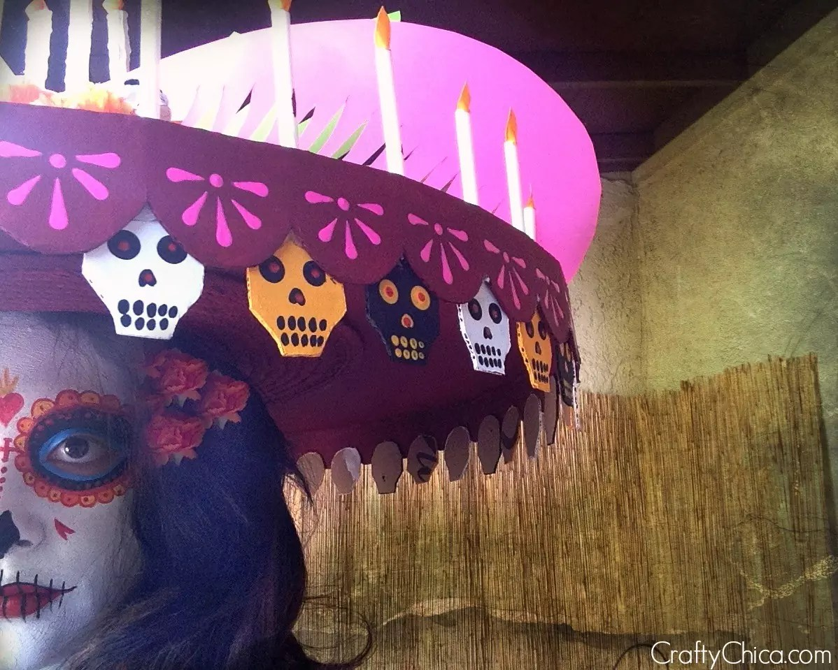 La Muerte hat and face paint tutorial by CraftyChica.com