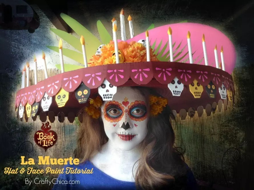 La Muerte Hat & Face Paint Tutorial from The #BookOfLife movie, by CraftyChica.com