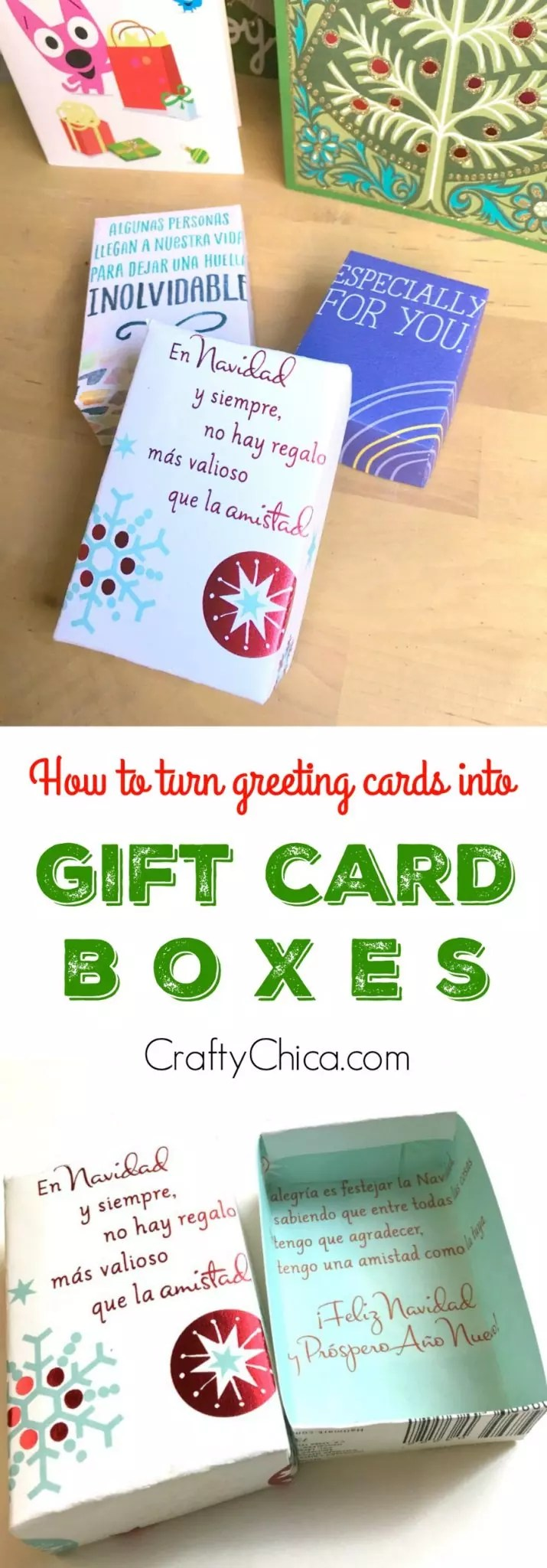 Turn greeting cards into gift boxes