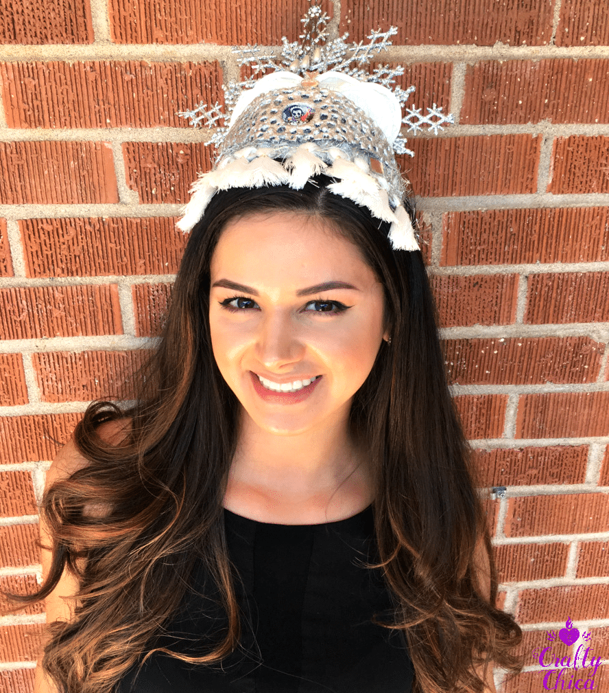 Sonia Rivera models a Crafty Chica Latinx art crown.