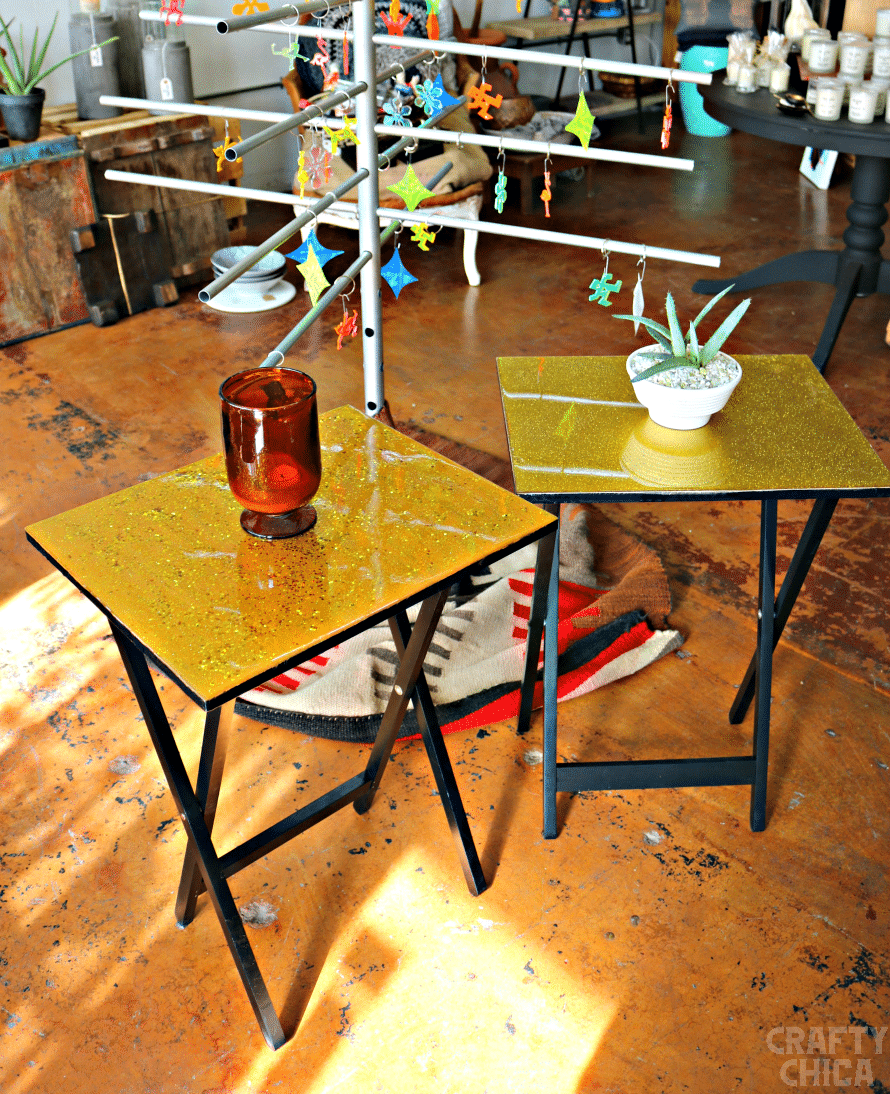 Resin and glittered TV trays