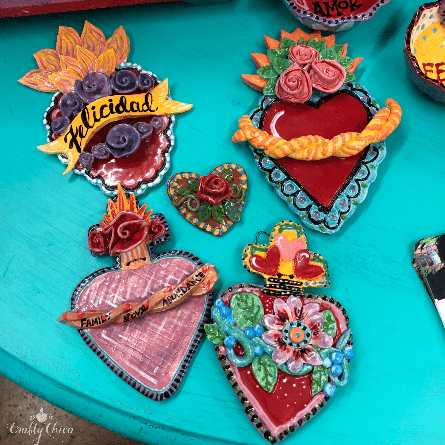 Ceramic clay hearts built and painted by Kathy Cano-Murillo.
