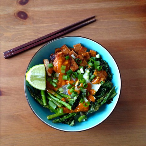 Spring Veggie Bowl with Red Curry Lime Sauce
