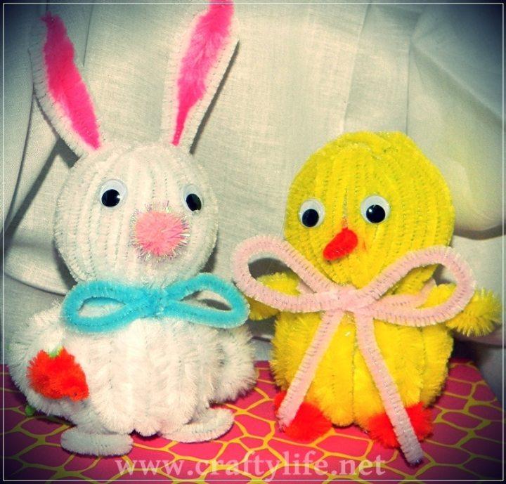 bunny and chick styrofoam my crafty life