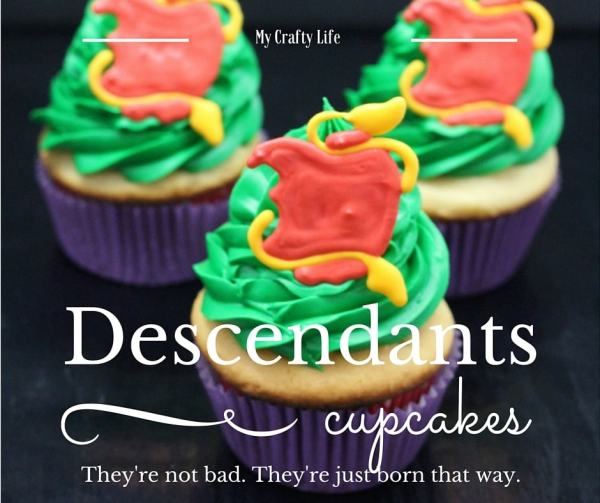 The Disney Descendants Cupcake recipe. Vanilla cupcakes and villains? Sign me up.