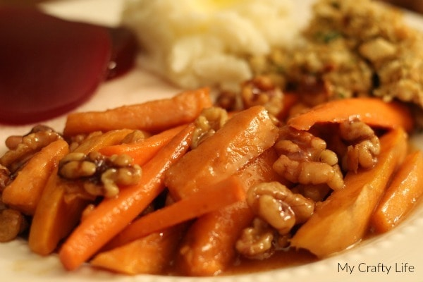 #justaddwalnuts - Glazed Carrots and Sweet Potatoes With California Walnuts, Cinnamon Butter and Brown Sugar - My Crafty Life