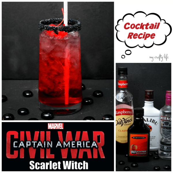 Scarlet Witch cocktail recipe -Add this sweet recipe with a bite to any movie party. Your guests will thank you.