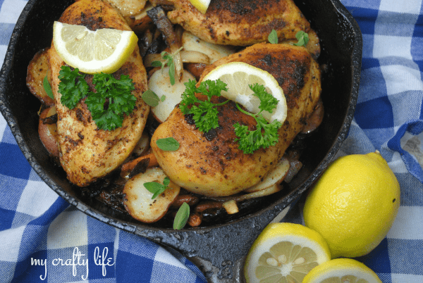 Whip up this quick, extremely flavorful Lemon Pepper Cast Iron Chicken meal. Perfect for summer.