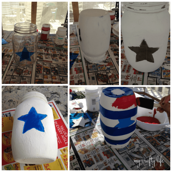 in process - patriotic mason jar - my crafty life