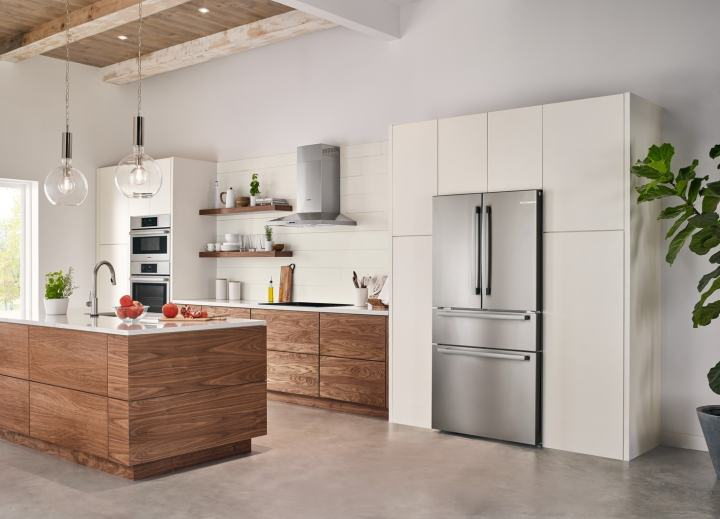 Side view of the Bosch Counter Depth Refrigerator in stainless steel finish