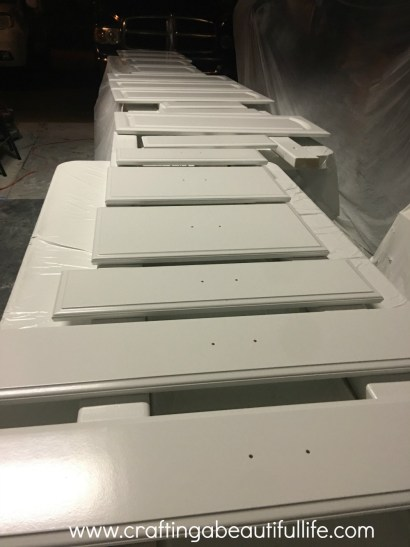 Spraying you cabinets white