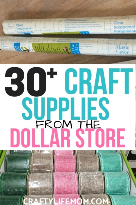 30 Plus Craft Supplies you can buy from the Dollar Tree to stock up on all of your favorite crafting needs. List includes vinyl and transfer tape hacks for using with your Cricut and Silhouette craft cutting machine.