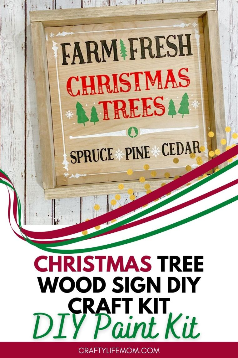 Create your own Farm Fresh Christmas Tree wood sign at home with this DIY Wood Sign Kit. The kits come with everything you need to paint your own sign. Display the sign within your home decor for a unique to your home holiday display. #craftkitdiy #christmastreesign