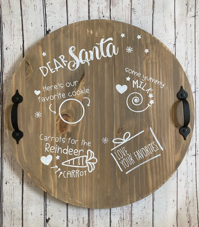 Create your DIY Santa Cookie Tray with this adorable craft kit. Don't forget the reindeer. #cookiesforsanta #cookietray #christmascookies