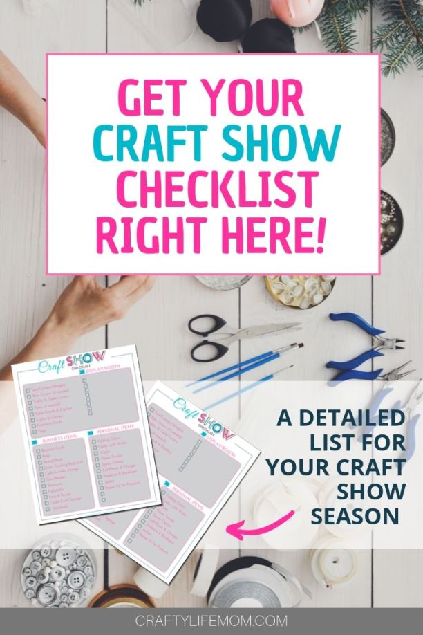 Grab your free printable craft show checklist for the upcoming craft show season. This list helps you remember everything you need for a successful craft show every time. #crafts #craftshowchecklist #craftshow #craftmaker #makerlist #craftfair #craftfairs