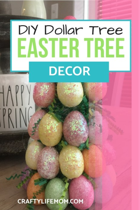 Create this Easy Dollar store DIY Easter Egg Tree centerpiece using styrofoam eggs and some moss and floral cone. This DIY tutorial will help you create a showstopper centerpiece for your Easter Table this year.