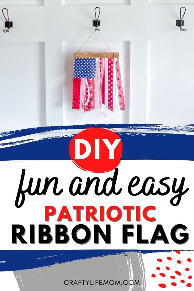 DIY Patriotic Ribbon Flag #fourthofjuly, #homedecor #ribboncrafts #patiroticcrafts