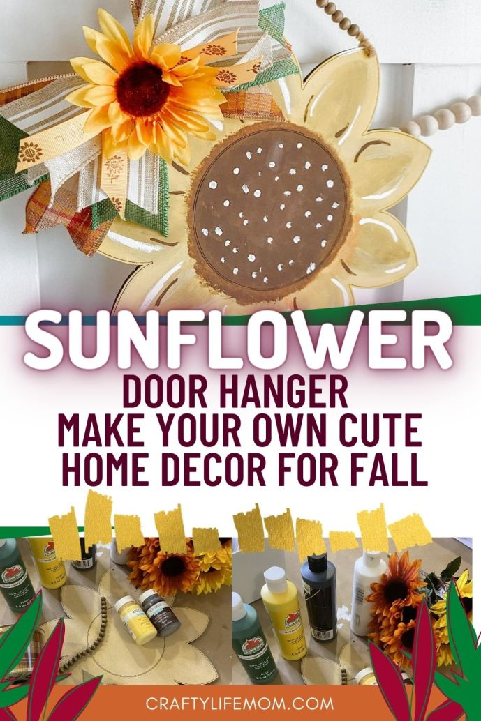 Create a cute and adorable Sunflower Door Hanger with this tutorial. This DIY project is simple to recreate and make all your own with just an MDF blank and paints. #sunflower #door #hanger