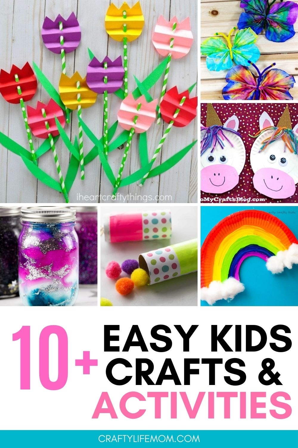 10+ Easy Crafts for kids to make and create. No special tools or skills are required. These crafts are for anyone to make with kids!