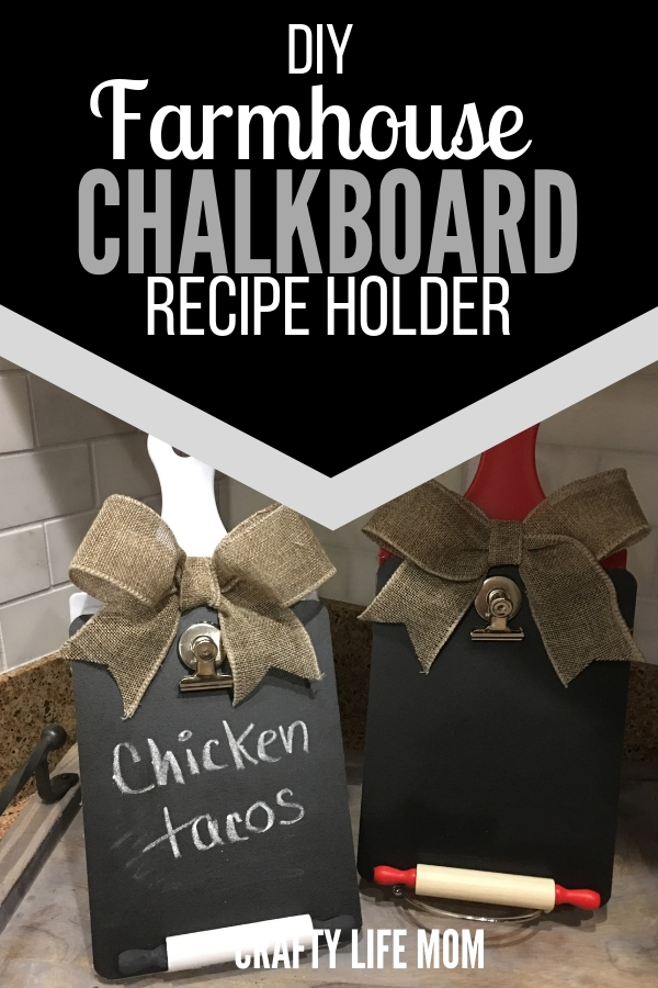 Make this super cute Farmhouse Chalkboard Recipe holder using items mostly form the dollar tree. Display in your kitchen for cute and function decor while also placing your favorite recipes cards on display. You can even use it to hold and display your phone. This a cute DIY. #farmhouseDIY #dollartreefarmhousedecor #farmhouse #dollartreecrafts #recipeholder