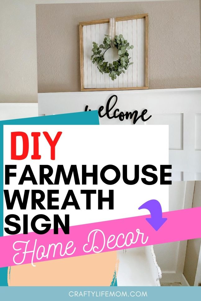 Learn how to recreate this beautiful farmhouse wreath sign using scrapbook wood and easy to nail trim and a wreath. This tutorial explains hows to use a scrap piece of wood for you to create this look in your home.#farmhousesign #diyfarmhouse #farmhousehomedecor