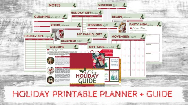 This holiday planner printable will help make this your best Christmas and Holiday Season yet! Use the printable Christmas gift tags, gift list, monthly planner, gift tracker, menu plan, shopping list, and other worksheets to plan and budget for your best, least stressful Christmas ever! This cute Holiday guide and planner will help make your Christmas run smoothly and less stressful! #holidayguide #christmasplanner #thanksgivngplanner #printableguide #holidayplanner