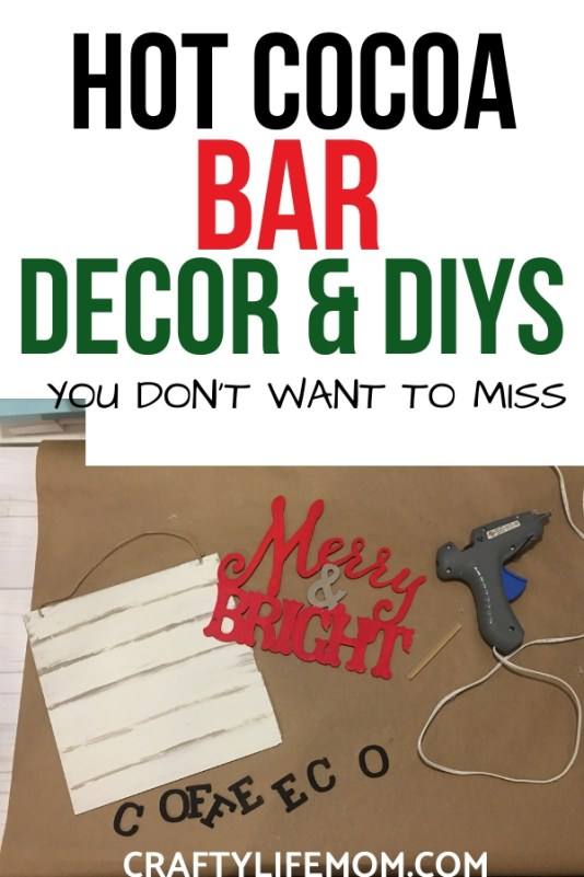 Decorate the space you start your day in with this simple and fun Christmas Coffee Decor DIY. I share a Christmas Coffee Bar Decor Sign and fun ways to style your shelves for the holidays. #christmascoffee #christmasdiys #christmascrafts #hotcocoabar #hotcocoabarideas